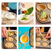 Making mini-pies filled with peas and broccoli