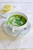 Wild garlic soup with sour cream