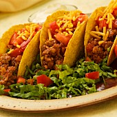 Ground Sausage Tacos with Cheese and Tomato