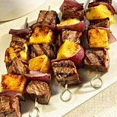 Beef, Red Onion and Pineapple Shish Kabobs