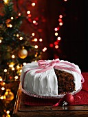 Christmas cake with a slice taken out