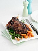 Roast leg of lamb with vegetables
