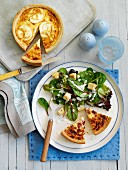 Quiche with green salad and croutons (top view)