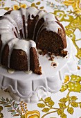 A Chocolate Bundt Cake with Lemon Icing