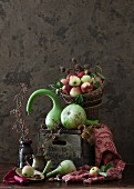 A Still Life with Green Pumpkins and Apples