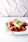Strawberry salad with lime sugar crystals