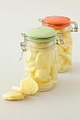 Pickled ginger in storage jars