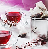 Two cups of spring tea with flower teabags