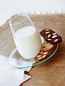 A glass of milk and slices of sweet almond toasts