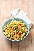 Pasta salad with peppers and mayonnaise