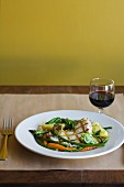 Grilled boneless pork with mixed vegetable; Glass of red wine