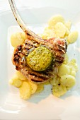 Veal chop with potato salad