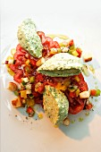 Tomato salad with herb cream cheese