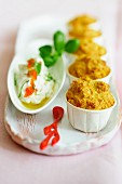 Cheddar muffins and creamy goat's cheese with olive oil