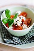 Tomato salad with goat's cheese quark and pumpkin seed oil