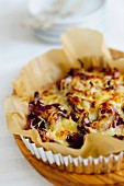 Onion tart with red endive