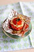 A stuffed tomato