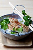 Rice noodles with sesame prawns and coriander (Asia)