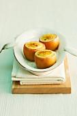 Crème brûlée served in hollowed out apples
