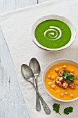 Spinach soup and squash & chickpea soup with chicken croutons