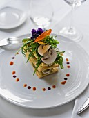 Mille feuilles with goat's cheese and mushrooms