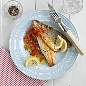 Fillets of sea bass with tomato salsa