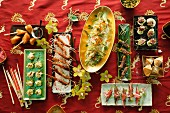 Asian buffet with finger food and snacks