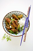 Schweinegeschnetzeltes mit Gurken & Reis (Asien)