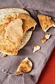 Pita breads on a cloth