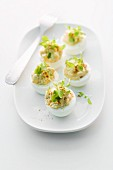 Deviled Eggs on White Serving Dish