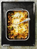 Salmon cheese bake with mushrooms and broccoli