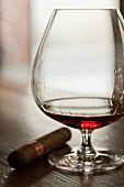 Brandy in a brandy glass, a cigar to one side