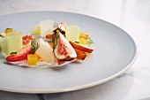 Fig Salad with fresh strawberries, melon, cucumber, compressed pineapple