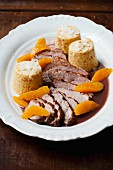 Duck breast with squash mousse and orange segments