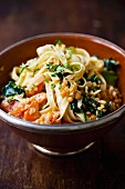 Ribbon pasta with spinach and lentils