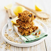 Lemon & ginger flapjacks, stacked