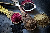 Hawaiian salt, Merlot salt, curing salt and rosemary salt on spoons