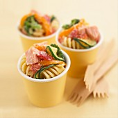 Pasta salad with salmon and vegetables