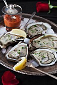 Oysters on a silver tray with ice