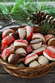 Mushroom cookies in basket