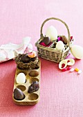 Chocolate surprise eggs for Easter
