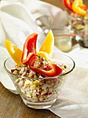 Cheese and sausage salad with peppers