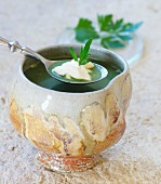 Stinging nettle and ground-elder soup with sour cream