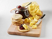Swedish Västerbotten cheese with walnuts and red gooseberry jam