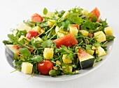 Summer salad with herbs, cheese and melon
