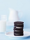 Stack of Oreos and Glass of Milk