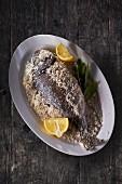 Gilt-head bream in a salt crust with lemon