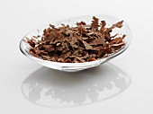 Chocolate shavings in a glass bowl