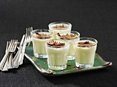 Honey panna cotta with grated chocolate