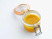 Mango sauce in a jar